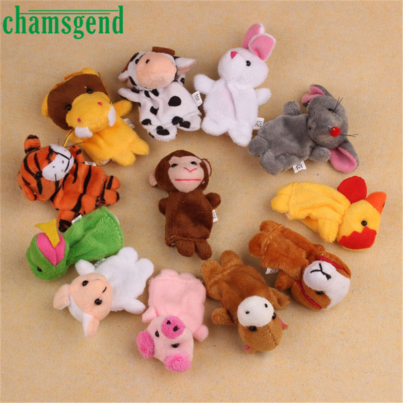 TS 12Pcs Chinese Zodiac Soft Animal Puppet Finger Toys PLush Toys Levert Dropship 9.27