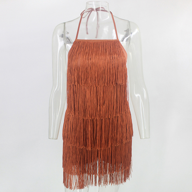 Justchicc Tassel verano traje de cabestro para mujer espalda descubierta Club Mini general Sexy ribete de flecos hasta Bodycon traje de fiesta femenina 2020