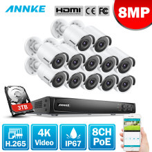 ANNKE 16CH 4K Ultra HD POE Network Video Security System 8MP H.265+ NVR With 12pcs 30m EXIR Night Vision Outdoor IP Camera