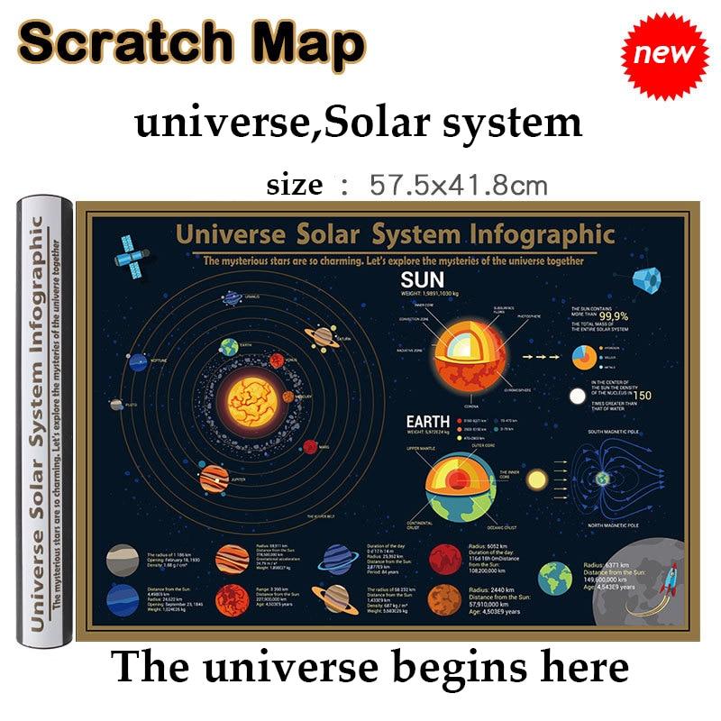 Waterproof Scratch Close Map Universe、Solar System Map Best Decoration School Office Stationery