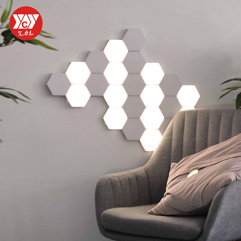 EU US AU Touch Wall Lamp Creative Honeycomb Modular Assembly Helios Quantum Lamp LED Magnetic Decoration Wall Light Bedroom Lamp