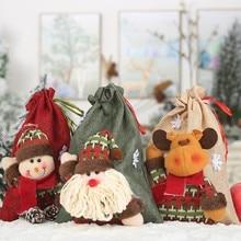 Christmas Theme Series Candy Bag Christmas Linen Drawstring Gift Bag
