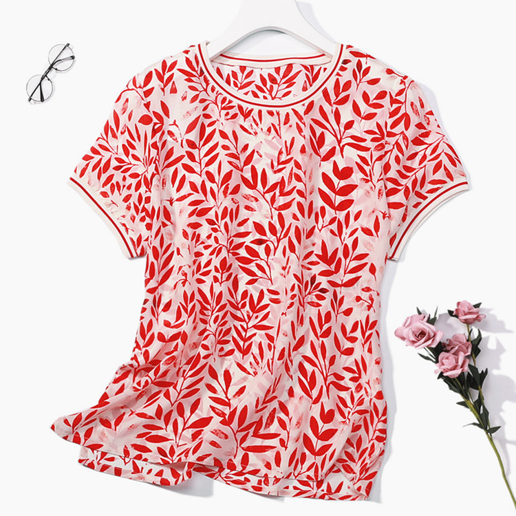 Women's 100% Pure Silk Top Shirt Blouse Crew Neck Short Sleeves Red Leaves Size M L XL JN219
