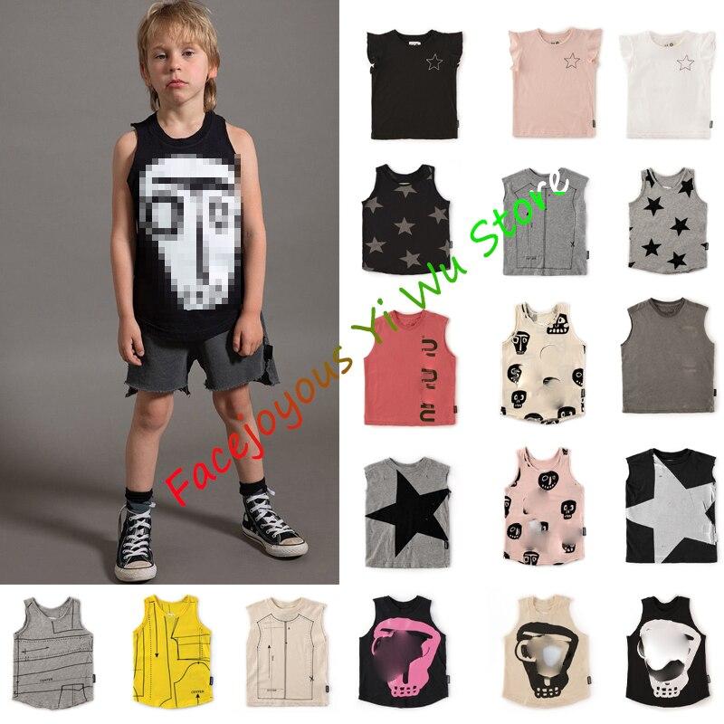 Pre-sale Kids Summer Vest 2020 Baby Boys Colorful Sleeveless Tops Toddler Girl Cartoon Star/robot Print T-shirt Children Clothes