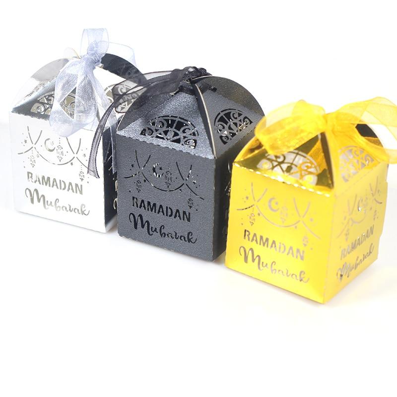 50pcs Gold Paper Candy Box Ramadan Mubarak Decoration Eid Gift Box Ramadan Kareem Party Decor Islamic Muslim Festival Supplies