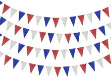 цена на Red Blue Silver White Patriotic Tri-angle Flag Banner USA Independence National Day Celebration Party Garland Hanging Decoration