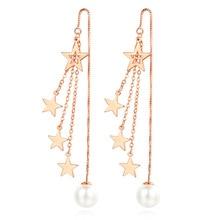 Luxury Little Star Imitation Pearl 925 Sterling Silver Lady Long Tassel Drop Earrings Jewelry For Women Wholesale Price