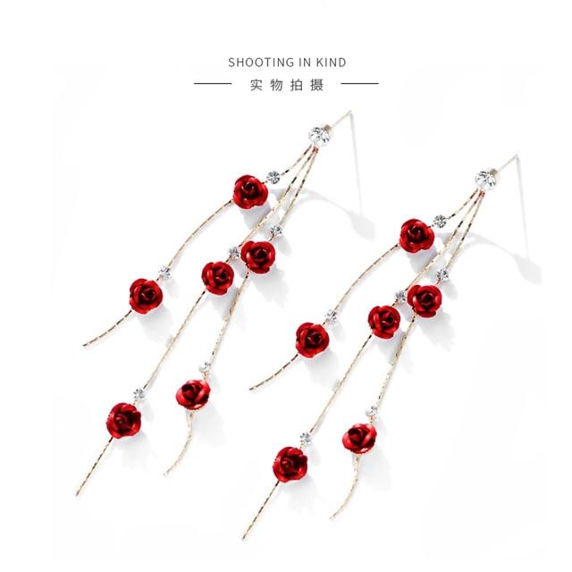 Fashion Rose Petal Drop Earrings for Women Bijoux Blue White long tassel Dangle Earrings Weddings Party Jewelry Accessories Gift 5