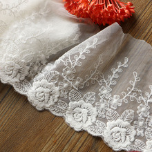 New 1Yards/Lot13CM  High Quality Lace Trim Embroidery Lace Fabric Mesh Lace Ribbon Tulle Guipure Cord Lace Sewing DIY Doll Cloth guipure lace panel frill trim sweatshirt