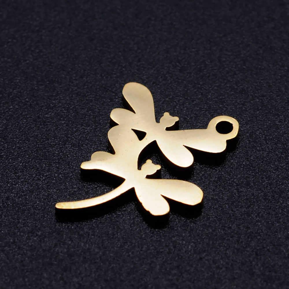 5 adet/grup çift Dragonfly paslanmaz çelik DIY takılar toptan DIY kolye kolye yapımı için asla kararmaz OEM Charm kabul