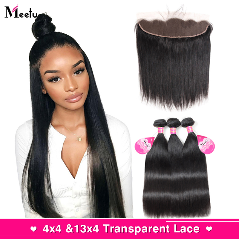 Meetu Transparent Lace Frontal With Bundles Straight Hair Bundles With Frontal Closure Malaysian Hair Bundles With Frontal 13x4