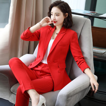 IZICFLY new style Red Pink Fall spring Elegant Business office Trouser and jacket blazer two piece
