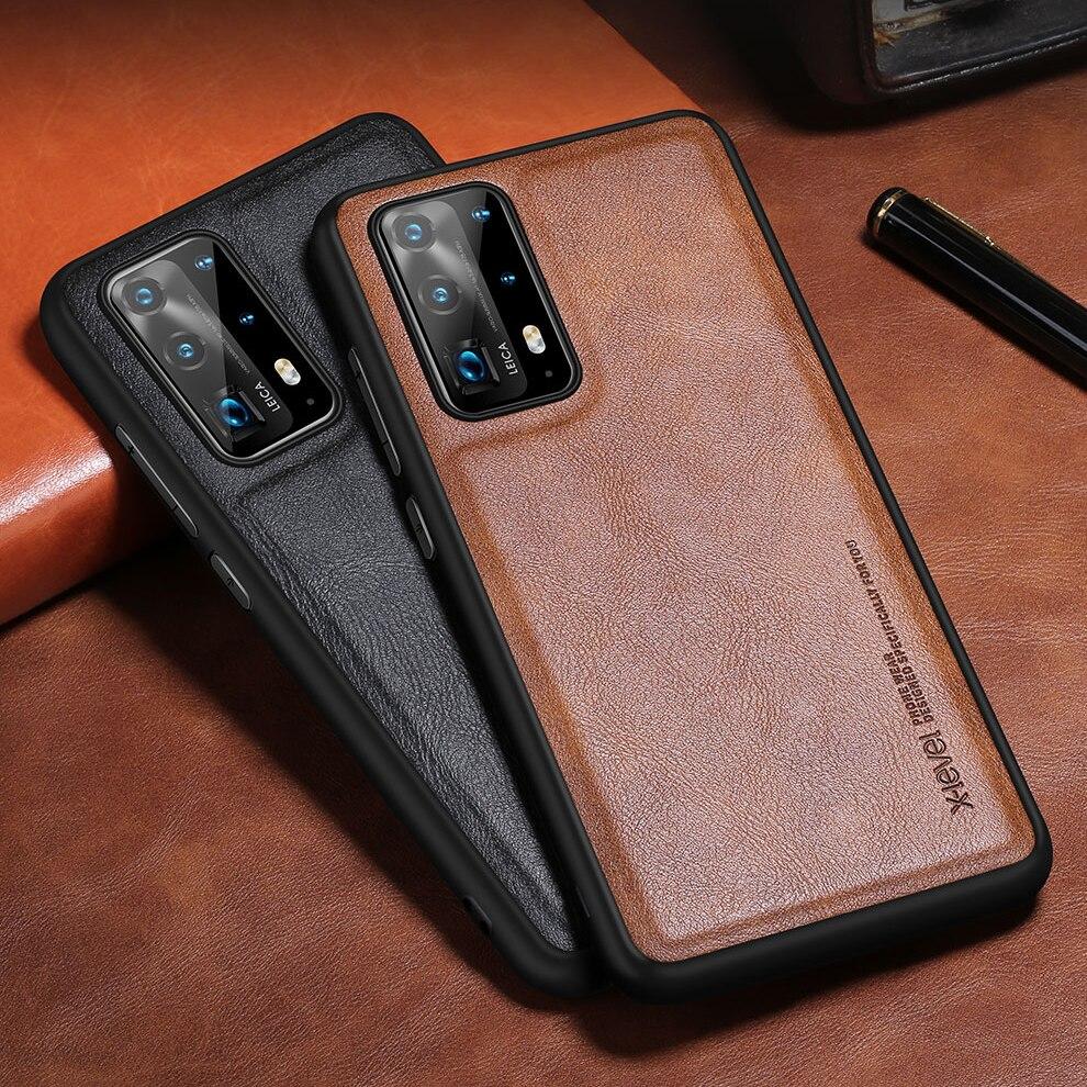 X-Niveau Leather Case Voor Huawei P40 Pro P30 Pro Originele Zachte Siliconen Rand Back Telefoon Cover Voor Huawei p40 Lite 5G Case