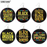 SOMESOOR, refranes negros impresos, Popular demanda, pendientes de gota de madera, Melanin Poppin Afro Queen, escritos inspiradores para regalos de mujeres