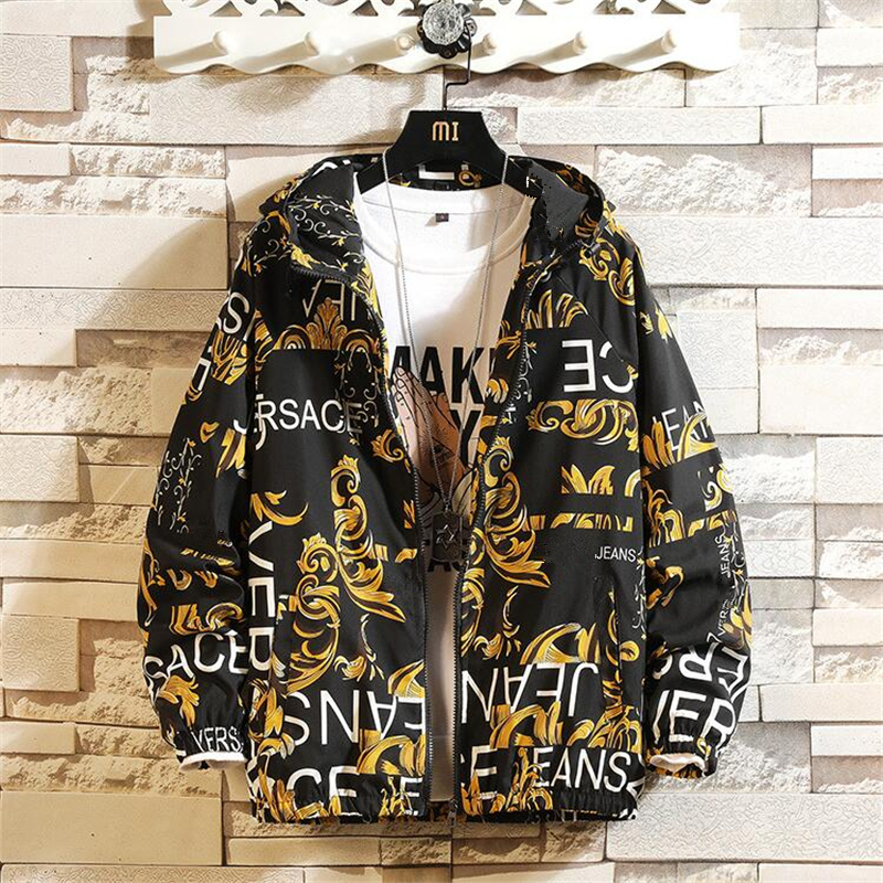 Fashion Brand Spring Autumn Men Casual Streetwear Floral Hoodie Jacket Man Waterproof Clothes Mens Windbreaker Coat Male Outwear