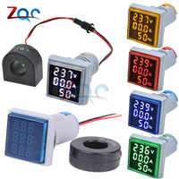 3 in 1 AC 60~500V Digital Voltmeter Ammeter HZ Hertz Frequency Meter Current Voltage Indicator Tester Amp Signal Light LED 22mm