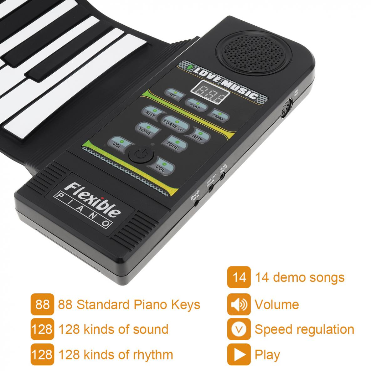 Купить с кэшбэком 88Keys 28 Tones 100 Rhythms Electronic Flexible Roll Up Piano USB & MIDI Port with Speaker for Children