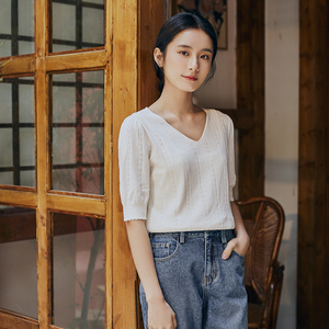 Image 3 - INMAN 2025 Spring New Arrival Literary Dimple Series V neck Nipped Waist Show Slimmed Short Sleeve Base Knitwear