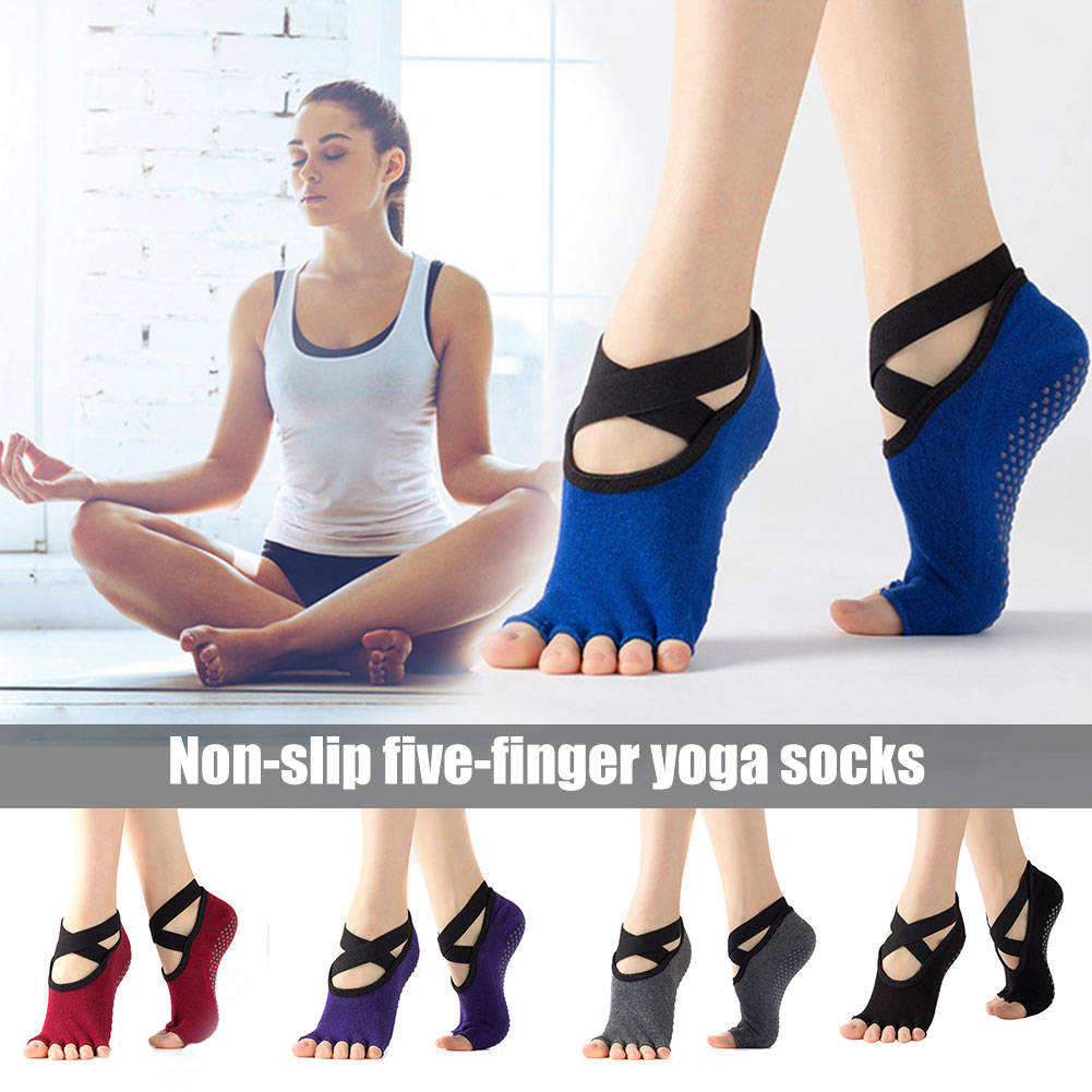 Non-slip Five-finger Yoga Socks Female Straps Yoga Socks for Ballet Pilates Barre Exercise Dance Studio Gifts for Women  THJ99