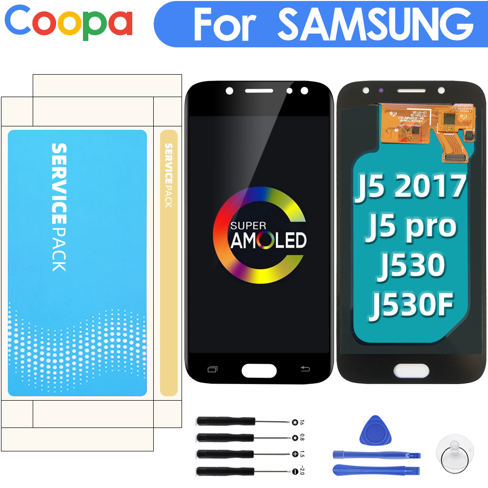 AMOLED For Samsung Galaxy <font><b>j5</b></font> 2017 J530 <font><b>J5</b></font> <font><b>Pro</b></font> J530F SM-J530F <font><b>LCD</b></font> Display Touch Screen Replacement With Brightness Adjustment image