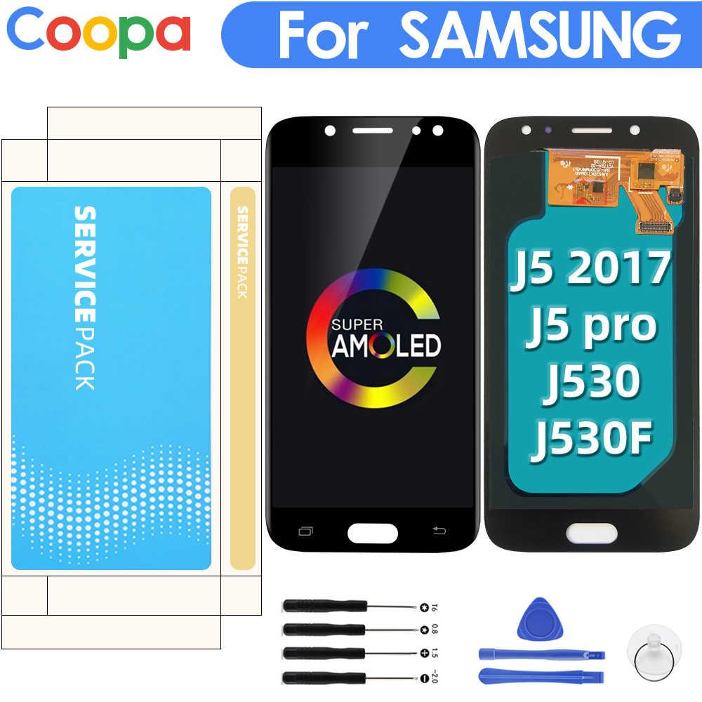 AMOLED لسامسونج غالاكسي j5 2017 J530 J5 برو J530F SM-J530F شاشة LCD تعمل باللمس استبدال مع تعديل السطوع