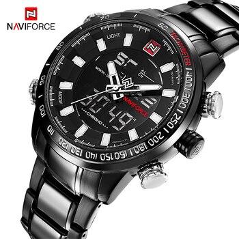 NAVIFORCE Brand Men Military Fashion Wristwatches Steel Quartz Dual Display Watches Waterproof LED Clock Relogio Masculino
