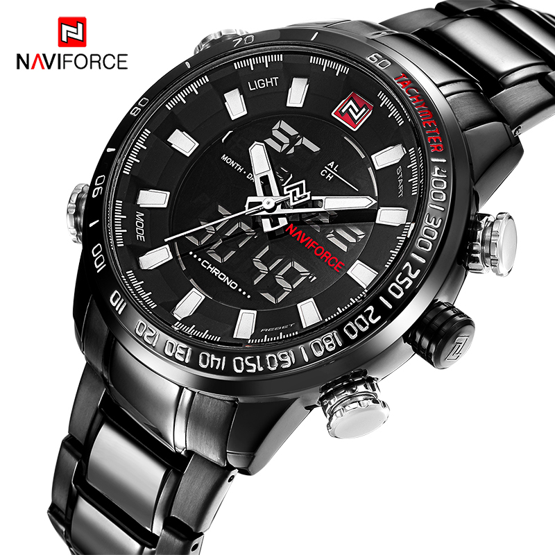 NAVIFORCE Men Military Fashion Black Steel Quartz Wristwatch Men's Dual Display Waterproof Man Sport Watches Relogio Masculino