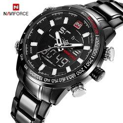 Naviforce homens militar moda preto aço quartzo relógio de pulso masculino dupla exibição à prova dwaterproof água homem esporte relógios relogio masculino