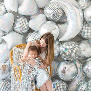 Image 4 - Globo de helio Disco 4D de 22 pulgadas, globo de aire de Color para cumpleaños y fiesta de boda, suministros de baño para bebé, globos decorativos, 20 Uds.