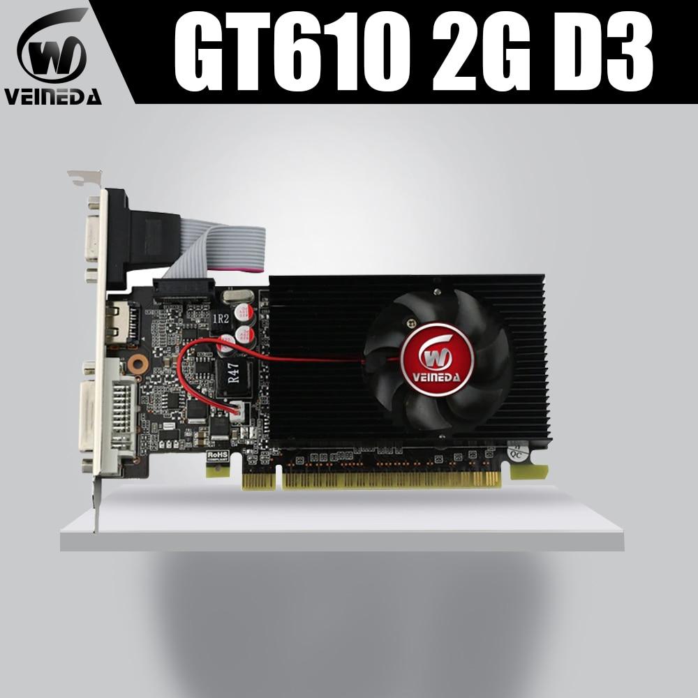 Veineda Display Vga Cards GT610 2GB DDR3 700/1000MHz  PC Desktop PCI Express 2.0X16