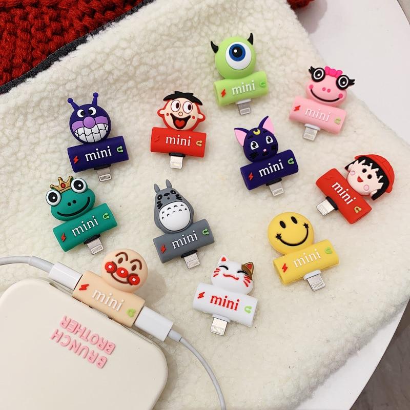Cute Cartoon 2 In 1 Dual Splitter Audio Headphones AUX Jack Adapter Charging Accesoire For IPhone 7 X XS Max XR 8 Plus