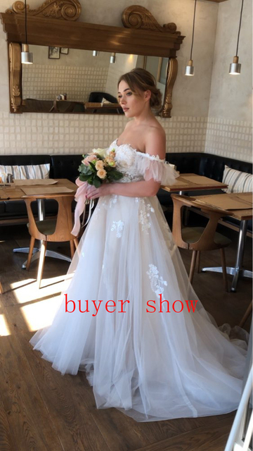 Sexy querida fora do ombro uma linha vestidos de casamento apliques rendas tule sem mangas vestidos de casamento para noivas vestido formal 2021 4