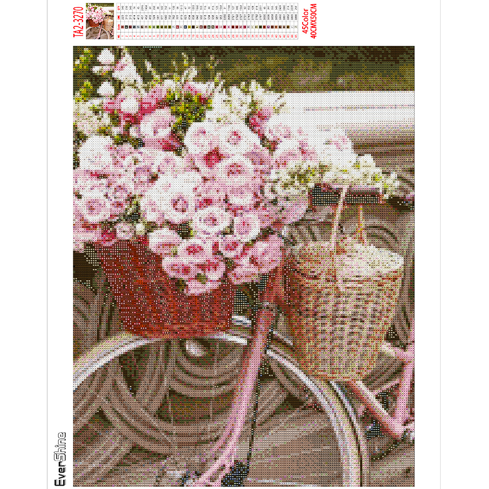Evershine Diamond Painting Bicycle Full Square Diamond Embroidery Flower Pink Cross Stitch Mosaic Crafts Kit Home Decoration-3