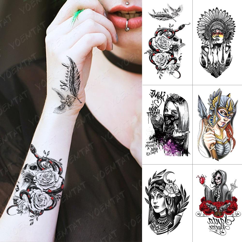 Waterproof Temporary Tattoo Sticker Snake Rose Skull Flash Tattoos Tribe Cool Girl Body Art Arm Water Transfer Fake Tatoo Women