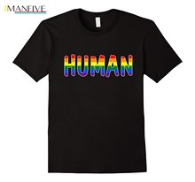Hot 2019 Fashion Crew Neck Human Lgbt Lesbian Gay Bisexual Transgender Support Shirt Short Top T Shirt For Men цена