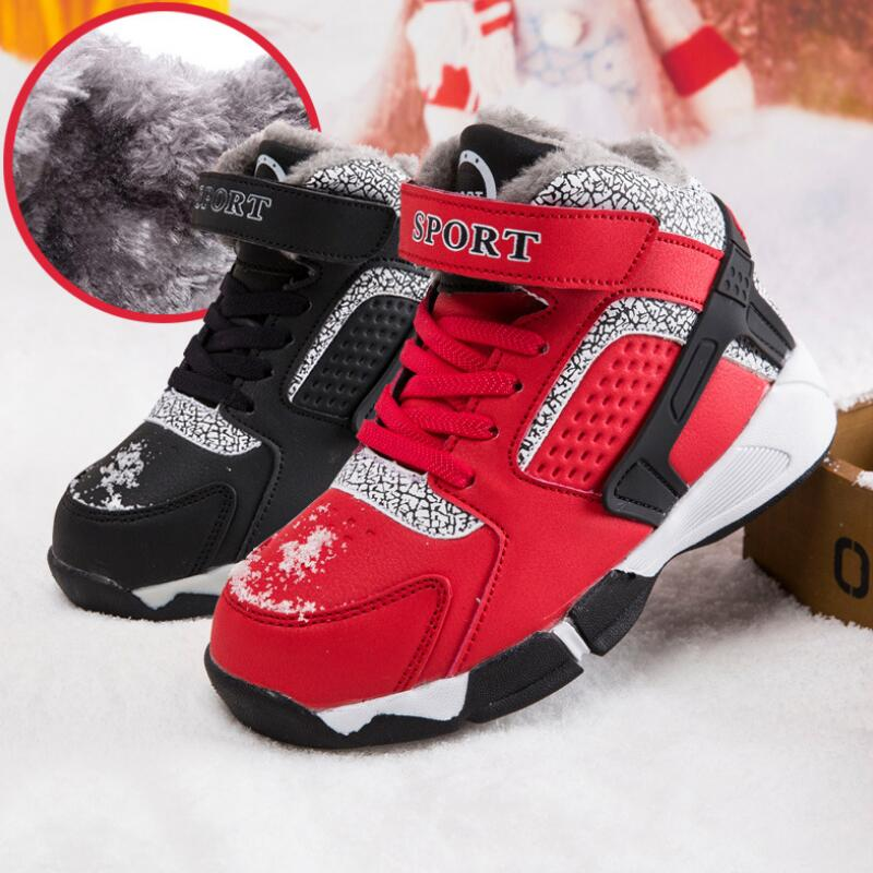 SKHEK New Arrival Classics Style Children Boots Hook & Loop Boys Winter Shoes Round Toe Girls Snow Boots Light Sneakers