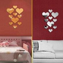 Decoracion Hogar Moderno Waterproof 10pcs Love Heart Acrylic 3D Mirror Wall Sticker Mural Decal Removable Stickers K817