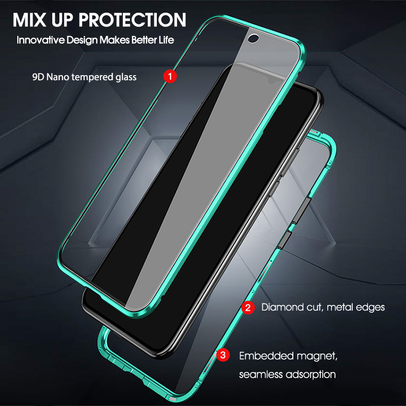 Double Sided Tempered Glass For Redmi Note8 8pro Metal Magnetic Adsorption 360 Full Protection Flip Cover for Xiaomi Note8 shell 4