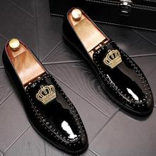 Men's Trendy pointed embroidery glitter crown flats oxfords shoes Homecoming Dre