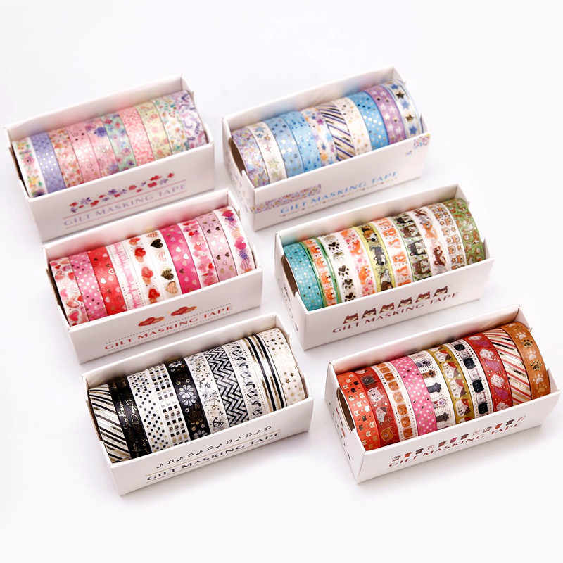 10 Pcs Kertas Washi Tape Set 8 Mm Renda Cinta Bunga Bintang Kucing Warna Emas Perekat Masking Tape Gilt Stiker dekorasi