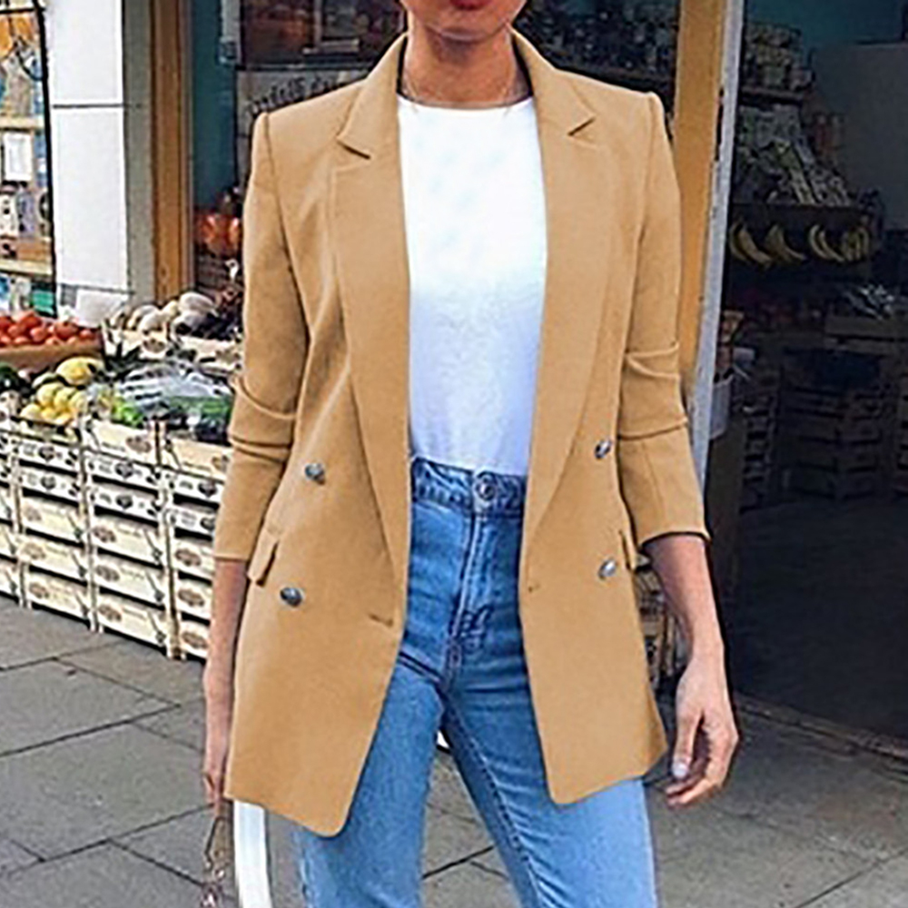 HEFLASHOR Women Blazer Suit Jackets Long Solid Coats Office Ladies Notched Collar Jacket Casual Female Outerwear Slim Fit Blazer