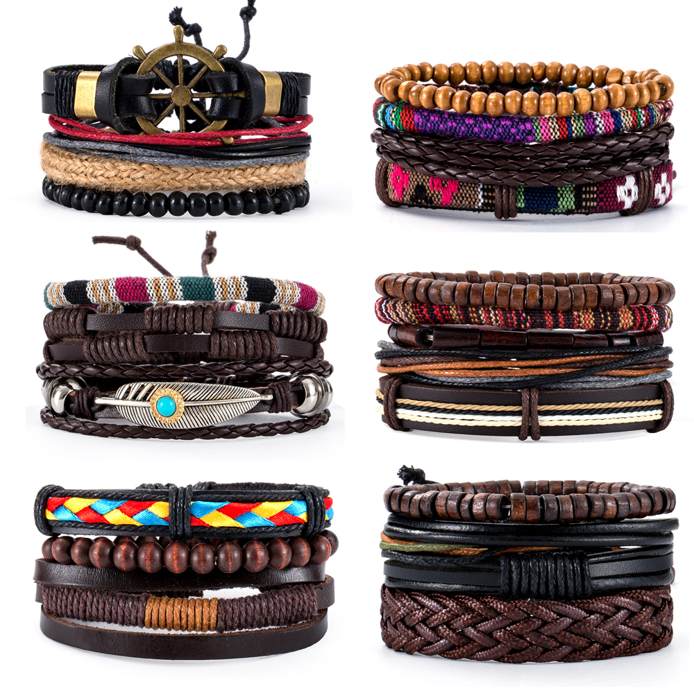 16 Styles Vintage Multilayer Handmade Bohe Rope Leather Bracelets Leaf Anchor Aircraft Wood Beads Bracelets & Bangle Wholesale(China)