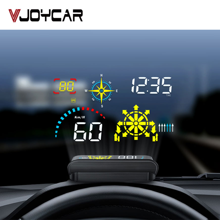 Vjoycar Q10 Newest Windshield HUD Projector with Navigation Car Head Up Display OBD2 HUD GPS Speedometer Water  amp  Oil temp RPM