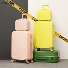 KLQDZMS   ABS Lightweight Spinner Rolling Luggage With Cosmetic Bag Cute 18''20''24''26 Inch PC Suitcase On Wheels INS Style