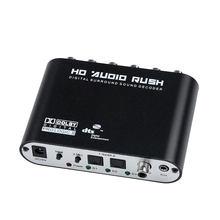 Decodificador de Audio Digital SPDIF Coaxial a RCA, DTS, AC3, óptico Digital a 5,1, amplificador analógico, 5,1