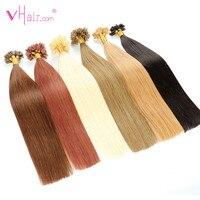 VHair 16 18 20 22 Remy Keratin U Tip Hair Extensions 1g/s 50 100pcs Silky Straight Pre Bonding Human Hair Extension Natural
