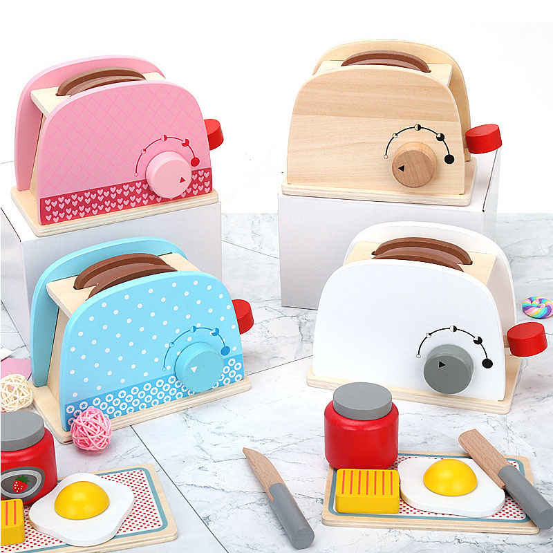 Kids Wooden Pretend Play Sets Simulation Toasters Bread Maker Coffee Machine Kit Game Wood Mixer Kitchen Role Toy Kids Gifts