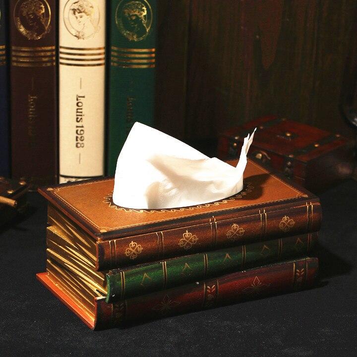 Classical Creativity Book-Shaped Wooden Tissue Box Decoration American Retro Ornaments European Tissue Paper Extraction Box