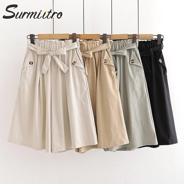 SURMIITRO Fashion 2021 Summer Korean Style Wide Leg Capris Women Short Pants High Waist Shorts Skirts Female With Belt 1