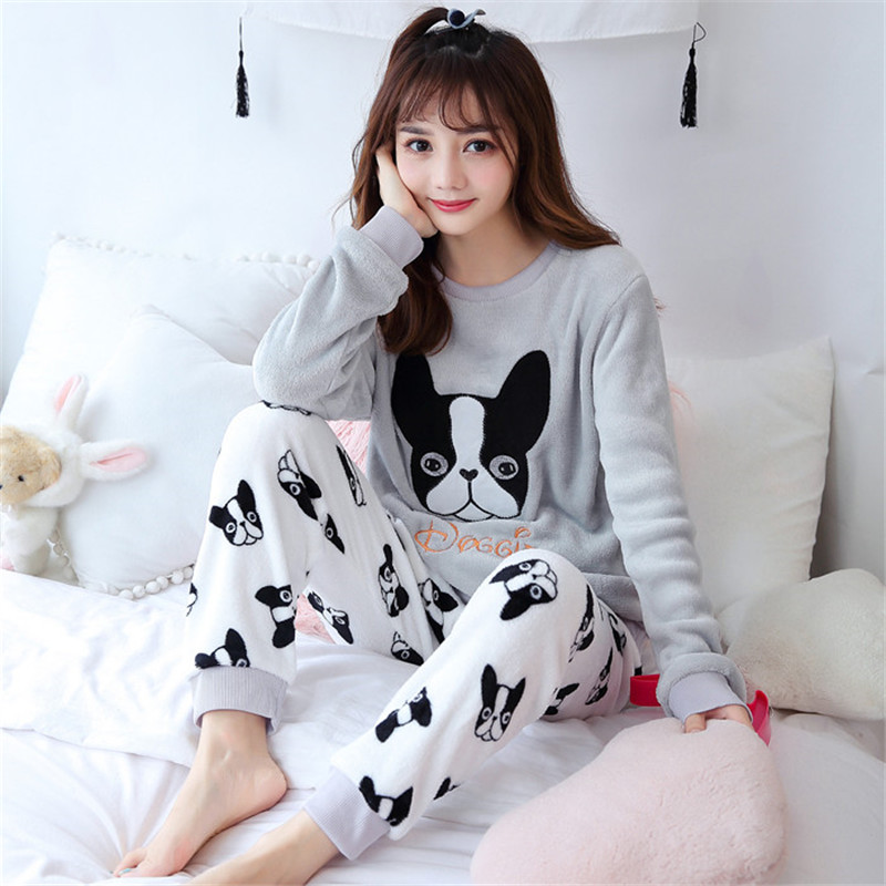 Animal Pajama Set Cute Dog Flannel Tops + Long Pants Sleepwear Women Clothing Printed Lingerie Winter Warm Pyjama